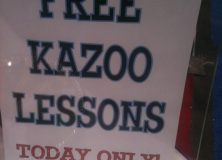 Bass Musician Mag snapped this pic - Free Kazoo lessons. Hmm.