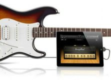 Squier Stratocaster Guitar with iPad