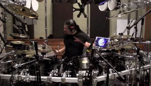 Mike Mangini in the studio with Dream Theater