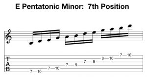 E Pentatonic Minor 7th Position